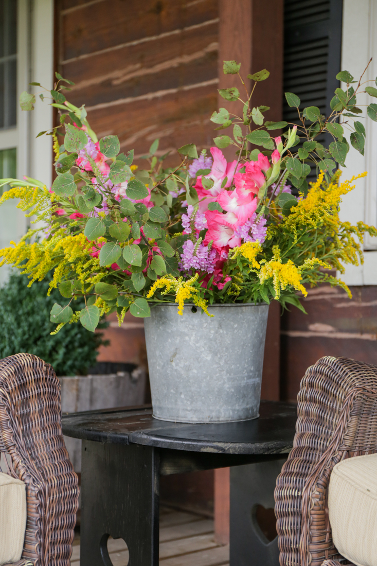 Rustic Galvanized Bucket Of Wildflowers And Gladiolas Creative Cain Cabin