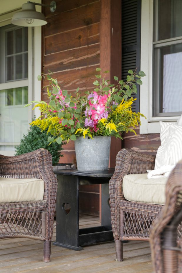 Rustic Farmhouse Gladiola and Wildflower Bouquet in a Galvanized Bucket