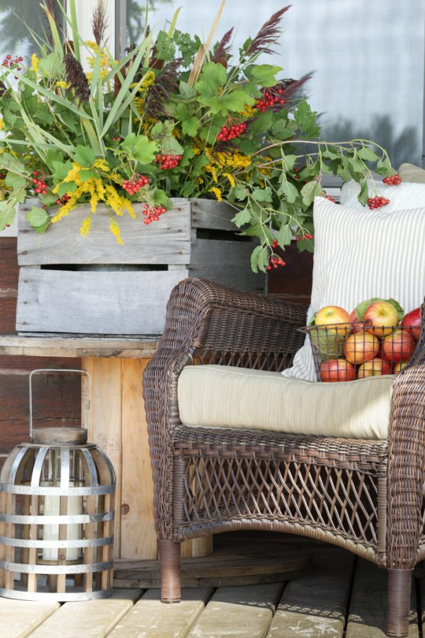 Decorate for fall using natural elements. Take a nature walk and collect branches, leaves, berries, cattails, and wildflowers. All for free! It's a great way to use what mother nature provides