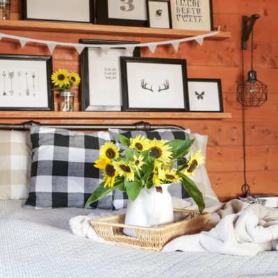 Sunflower and Buffalo Check Fall Guest Room