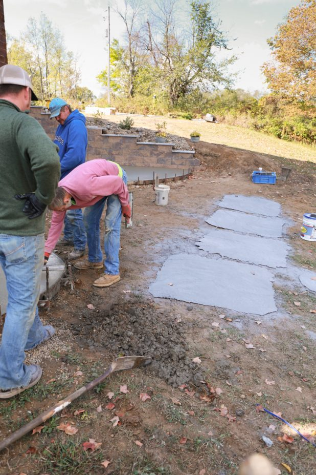 Stamping a concrete patio
