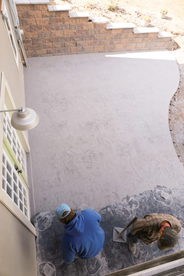 Stamped concrete with gray release