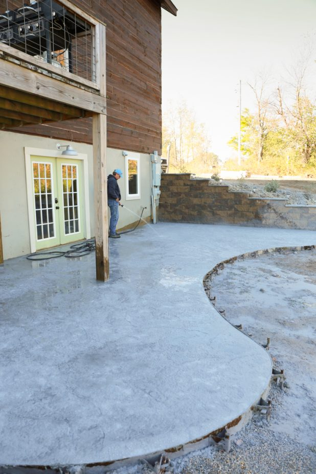 Washing the releasing agent off the stamped concrete patio