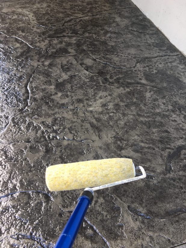 Stamped Concrete Patio Using Gray Color Release and Fractured Earth Stamp