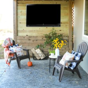How to create an outdoor tv space by enclosing the underside of a a second story deck