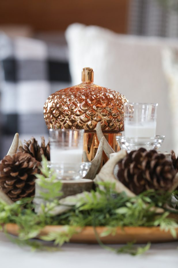 Easy to Create Rustic Natural Element Centerpiece Using Deer Antlers, Pine Cones and Wood Slices