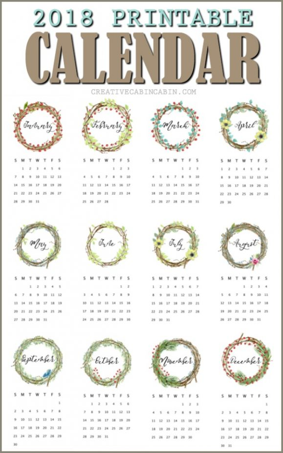 Free Printable 2018 Calendar done in twiggy wreaths, berries, and greenery