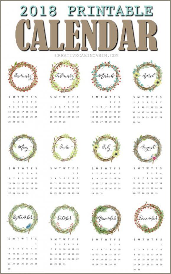 Free Printable 2018 Calendar done in twiggy wreaths, berries, and greenery