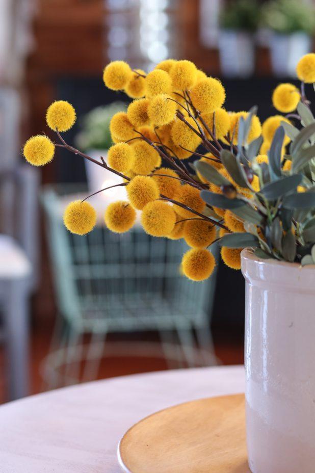 Yellow Faux Flower Balls