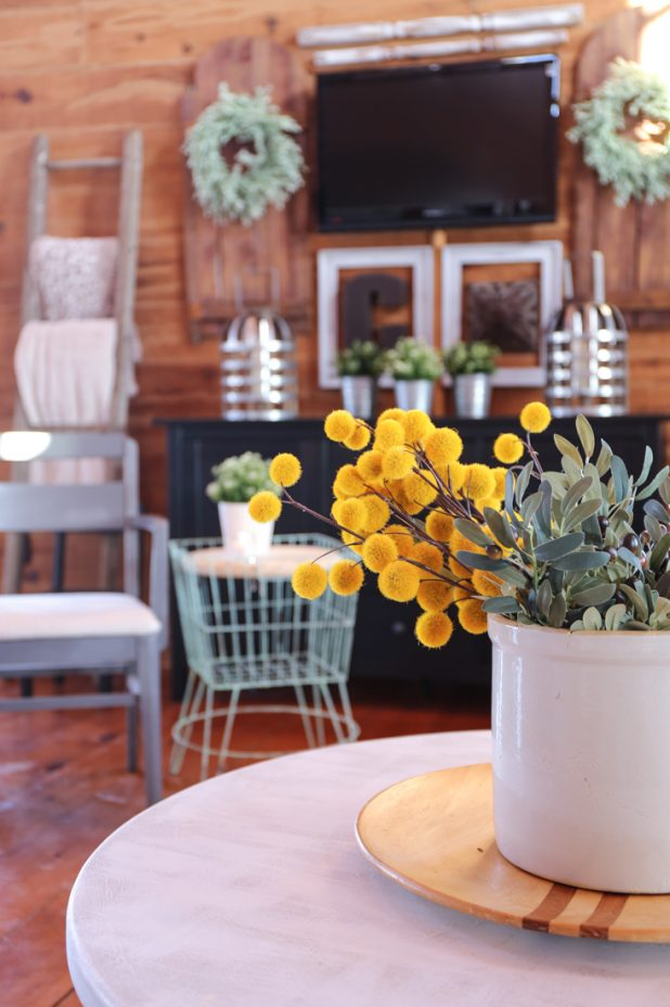 Log Home Decor, Wire Plant Stand Side Table, Wall Mounted TV, Barn Door Decor, Farmhouse Ladder, Ikea Buffett, Metal Lanterns