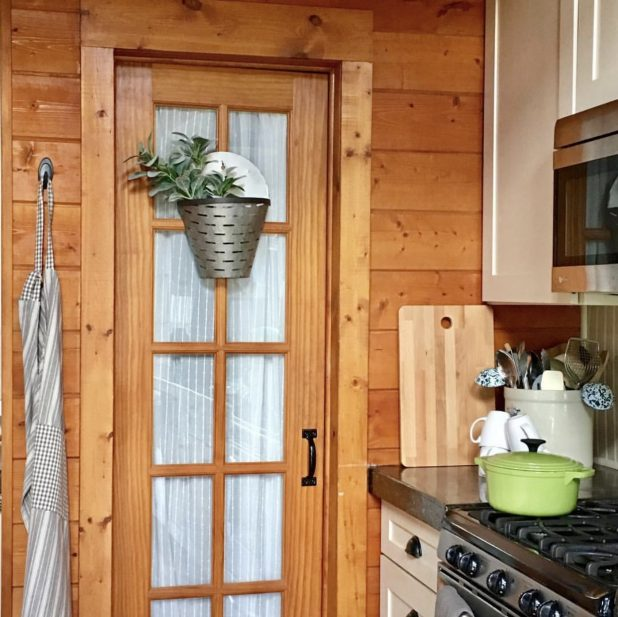 Pantry Door In a Log Home Kitchen
