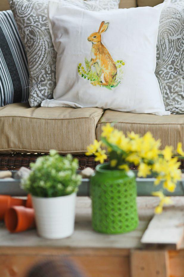 Spring Porch of a Log Home. Neutral Decor. Pottery Barn Bunny Pillow Knock Off Tutorial. Forsythia Blooms.