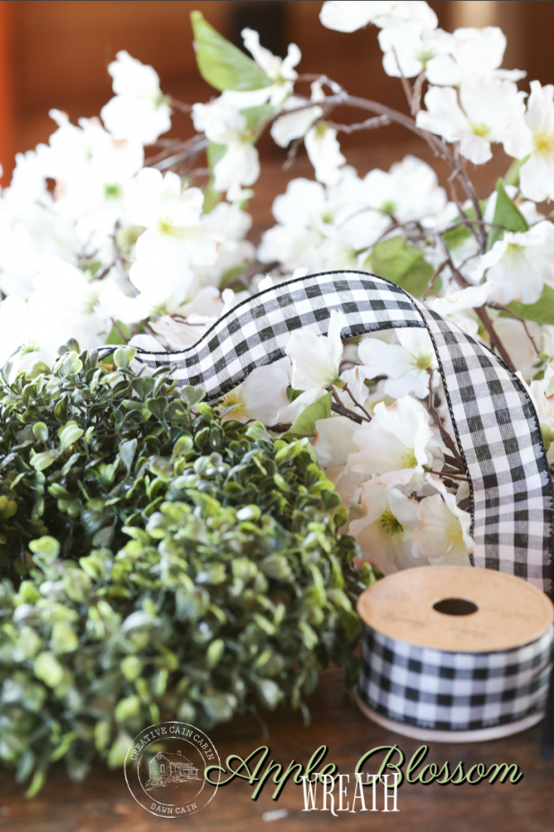 DIY Spring Apple Blossom Wreath, No Glue Gun Required. Can Be Assembled In Under 10 Minutes