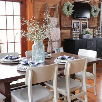 Spring Farmhouse Table Using Green, Black & White