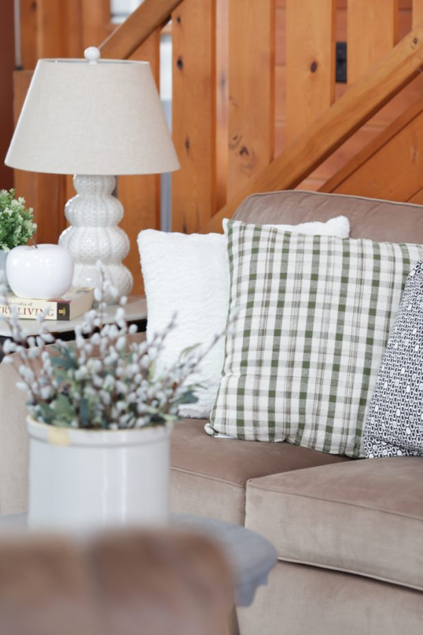 Green and Cream Plaid Pillow, Farmhouse Decor, Crock, Pussy Willow, Faux Green Plants, Neutral Decor, Country Living, Log Home.
