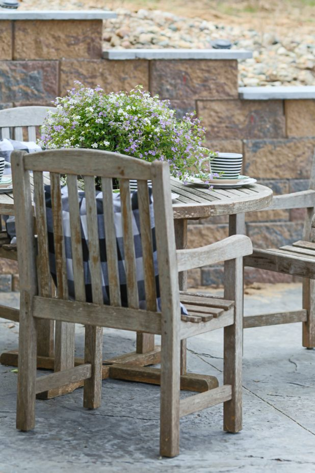 Teak Patio Furniture, Stamped Concrete Patio, Black and White, Buffalo Check, Log Home, Country Living, Farmhouse Style, French Doors, Painted Basement Walls.