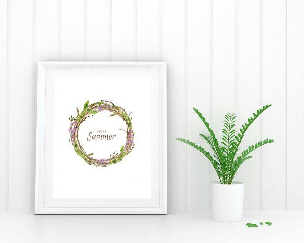 Lavender Summer Wreath Printable