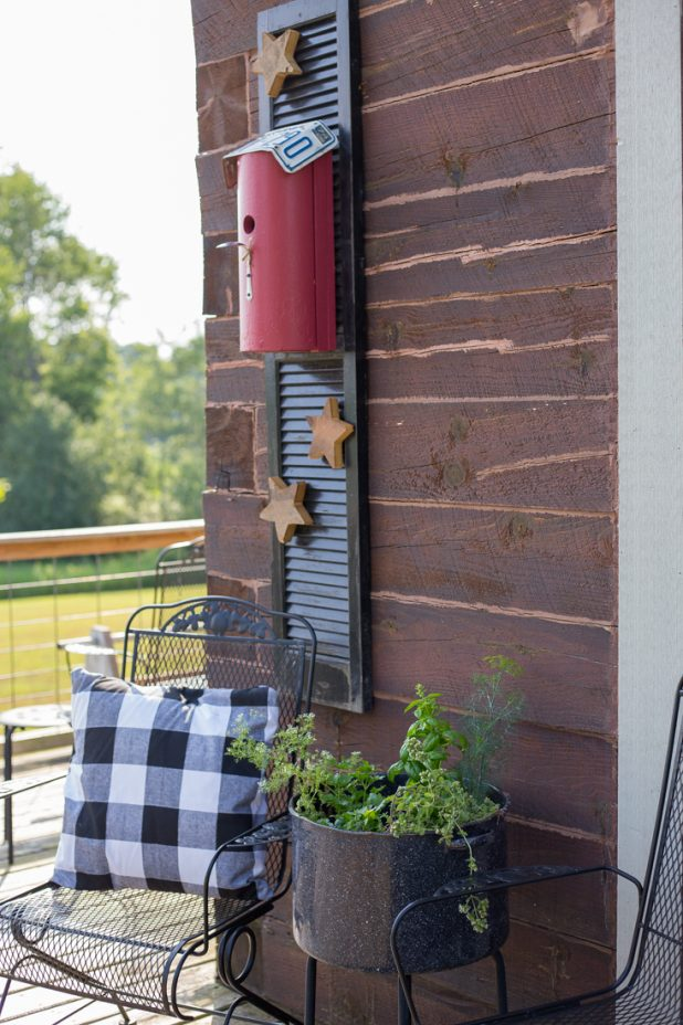 Rustic Birdhouse, Shutters, Buffalo Check Black and White Pillow, Potted Herbs