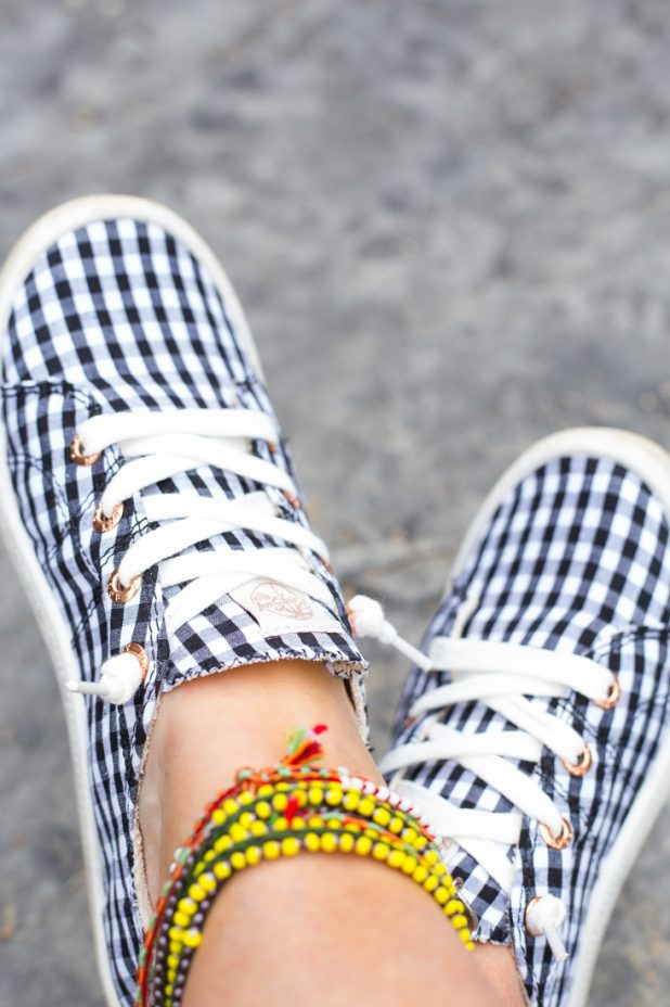 Black and White Gingham Roxy Tennis Hoes With Hand Made Ankle Bracelets From Peru