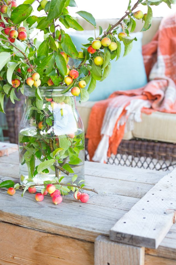 Simple Fall Porch Decorating Using Branches From a Crab Apple Tree
