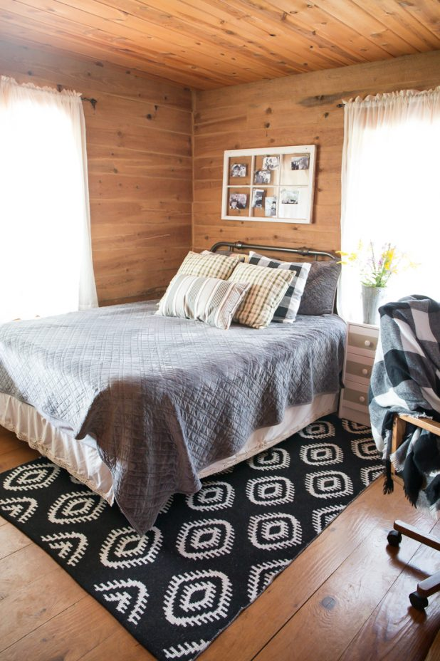 Zinus Matress In The Guest Room. Black, white, and gray guest room office combo