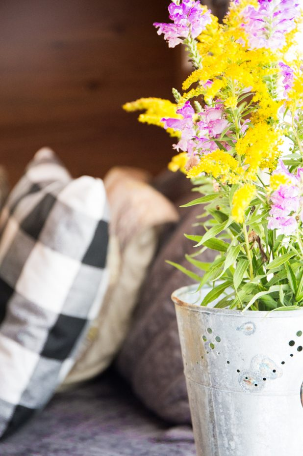 Buffalo Check Pillow and Wild Flowers in a Galvanized Bucket