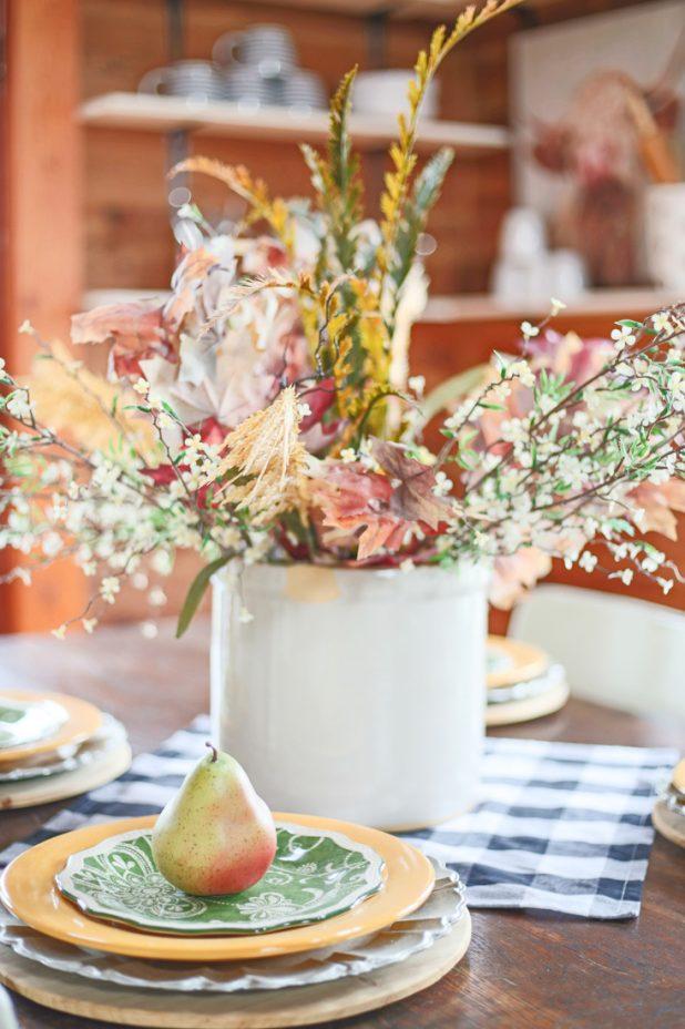 Fall Centerpiece Using Natural Elements, Crocks, Gingham, Layered Dinnerware, Farmhouse Decor. Open Shelving