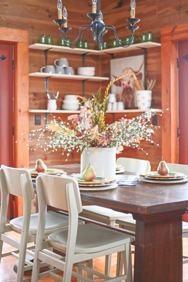 Fall Centerpiece Using Natural Elements, Crocks, Gingham, Layered Dinnerware, Farmhouse Decor. Open Shelving