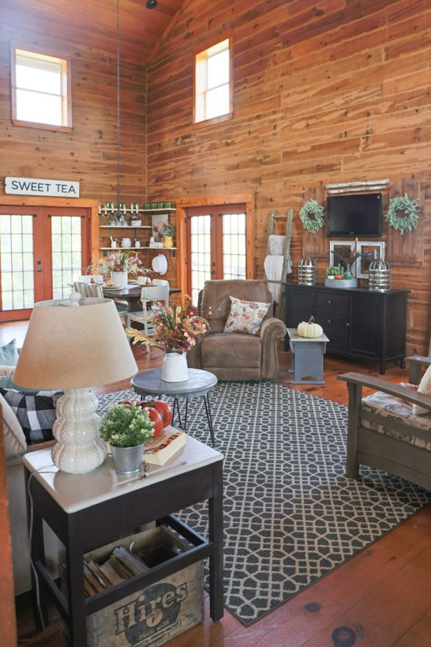 Fall Living Room Tour of a Rustic Log Home