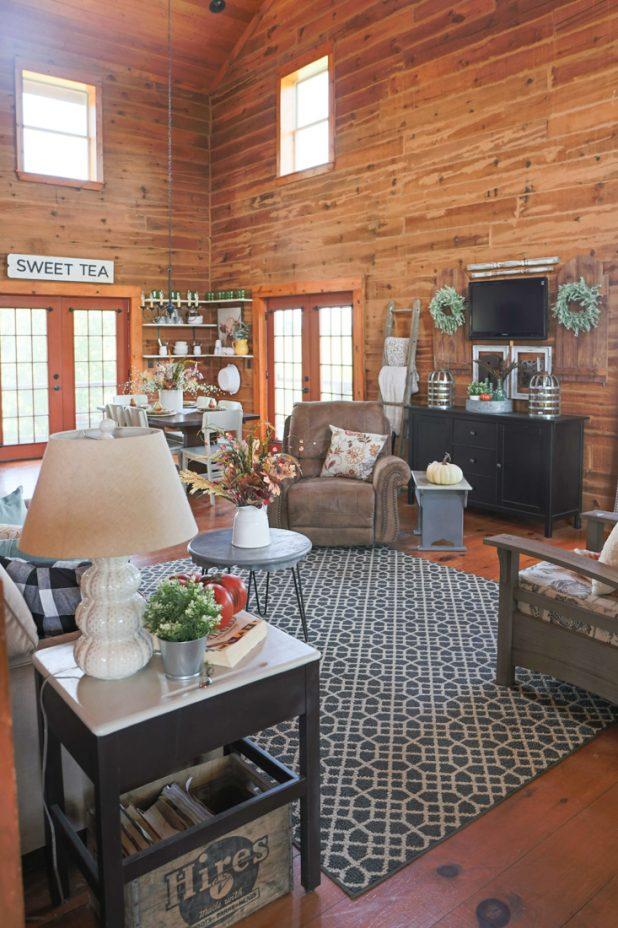 Fall Living Room Tour of a Rustic Log Home