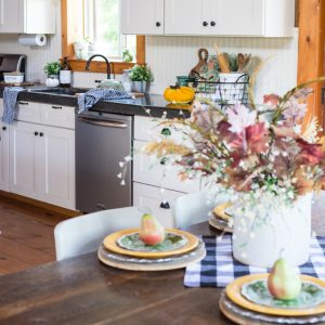 Decorating A Fall Cabin Kitchen With Pumpkins