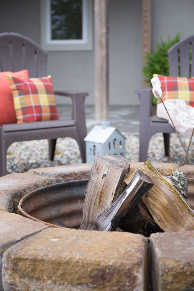 Fall Fire Pit Area of a Log Home