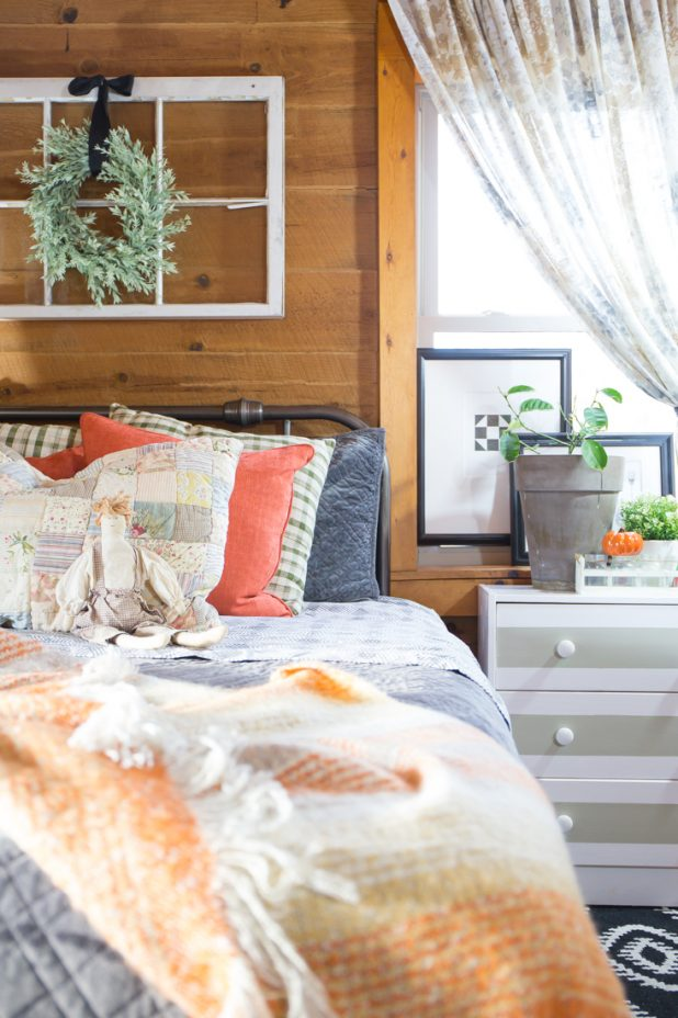 Adding Warm Fall Color To The Guest Room, Rust, Gray, Black, White