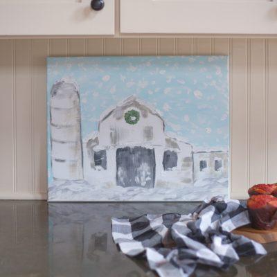 Rustic Winter Barn Scene Painting