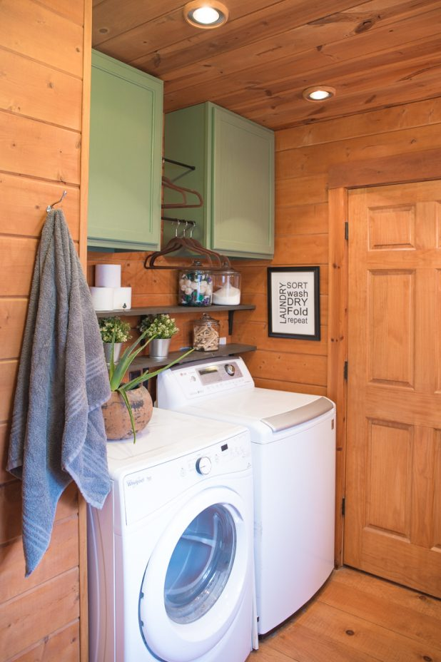Updating a Laundry Room By Removing the Shelves and Adding Painted Cabinets in Sherwin Williams Privilege Green