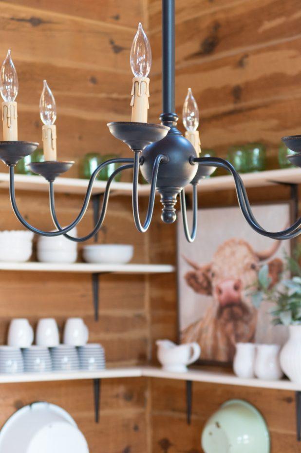Open Farmhouse Shelves, Shelf Styling, Cabin, Log Home