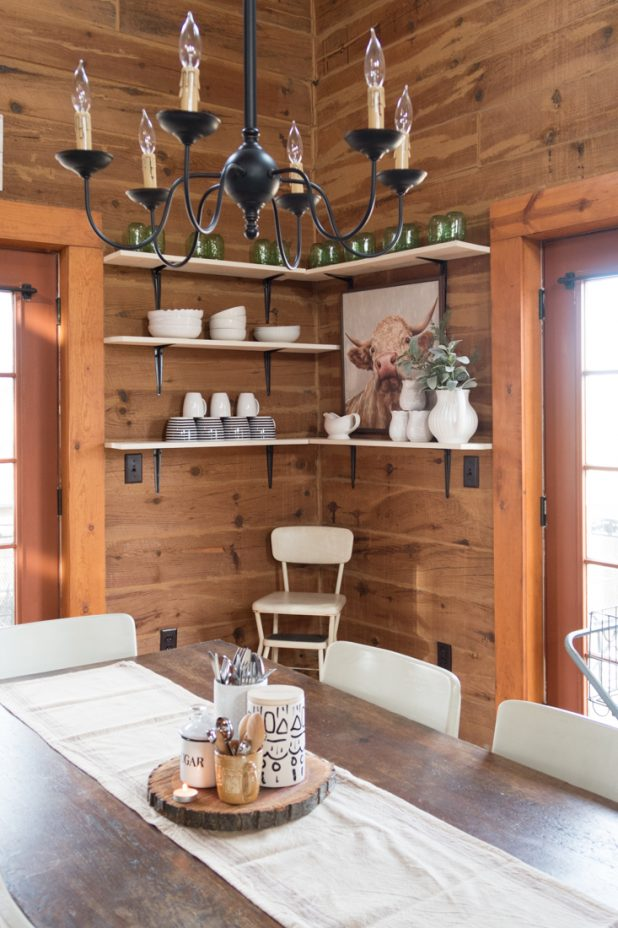 Winter Dining Room Decor, Open Farmhouse Shelves, Library Table and Chairs, Bull Print, Log Home, Cabin