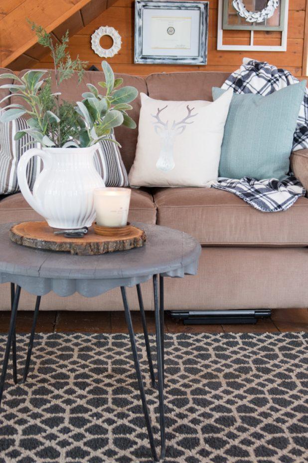 Living Room, Log Home, Cabin, Farmhouse Style, Hair Pin Leg Table, Neutral Decor, Gray, Black, White, Tan, Green