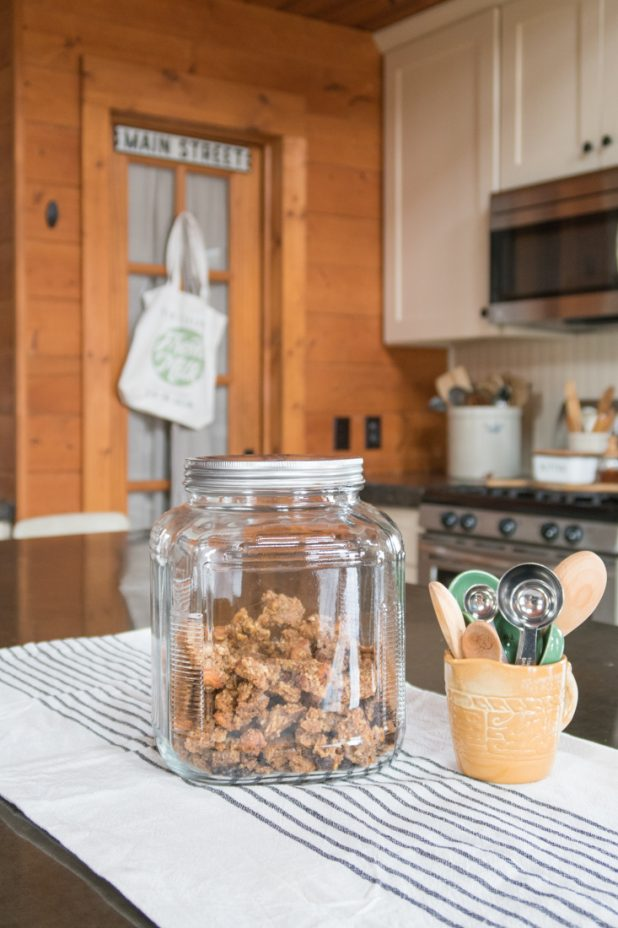 Granola, Vintage Measuring Spoon Collection, Farmhouse Style, Pantry, Log Home, Cabin, White Kitchen Cabinets, Concrete countertops, Wooden Spoon Collection, Crocks