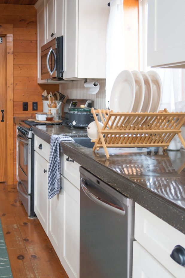 Farmhouse Kitchen, Pantry, Log Home, Cabin, Painted White Cabinets, Concrete Countertop