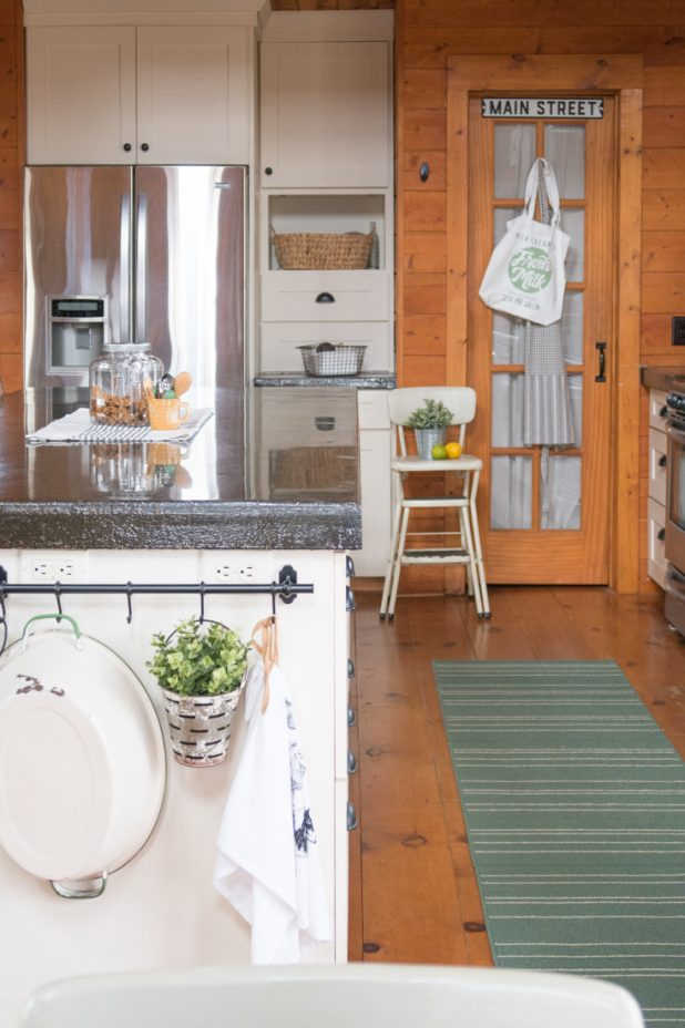 Farmhouse Kitchen, Pantry, Log Home, Cabin, Painted White Cabinets, Concrete Countertop, Painted Green Island,