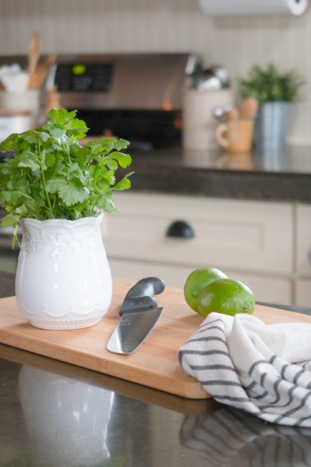 Log Home Kitchen, White Kitchen Cabinets, Black Concrete Countertops, Stainless Steel Appliances, Farmhouse Decor, Fresh Herbs, Vintage Finds