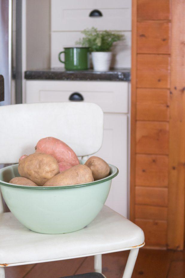 Vintage Stool, Vintage Green Enamelware Bowl