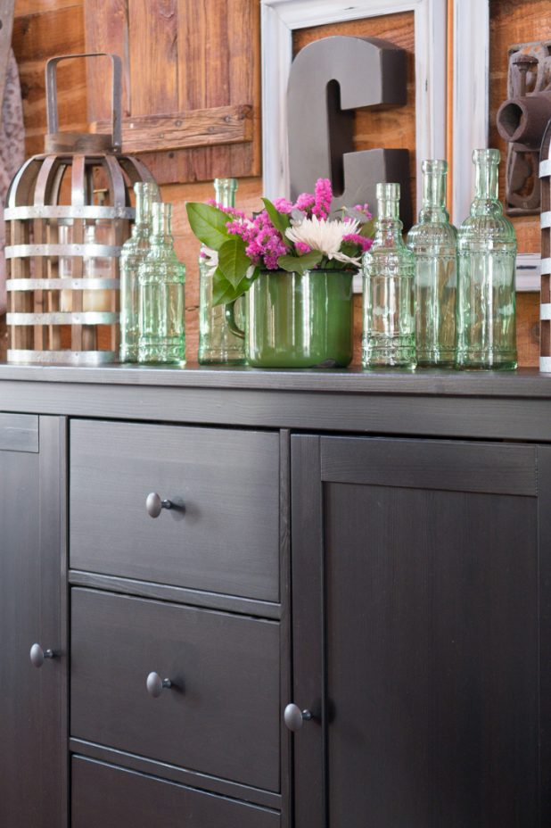 Spring Flower Arrangement, Vintage Green Glass Jars, Farmhouse Style, Vintage Measuring Cup