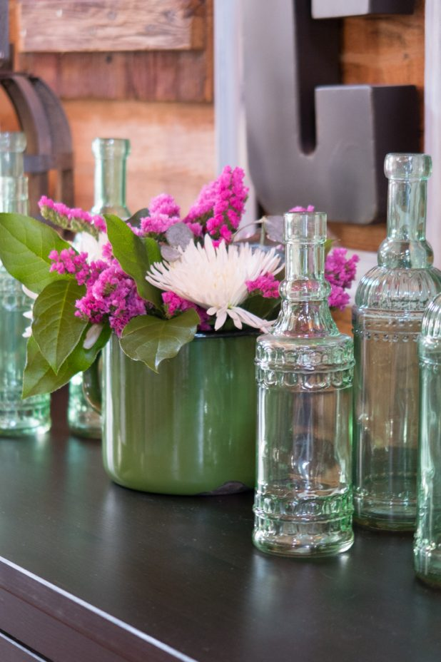 Spring Flower Arrangement, Vintage Green Glass Jars, Farmhouse Style, Vintage Measuring Cup