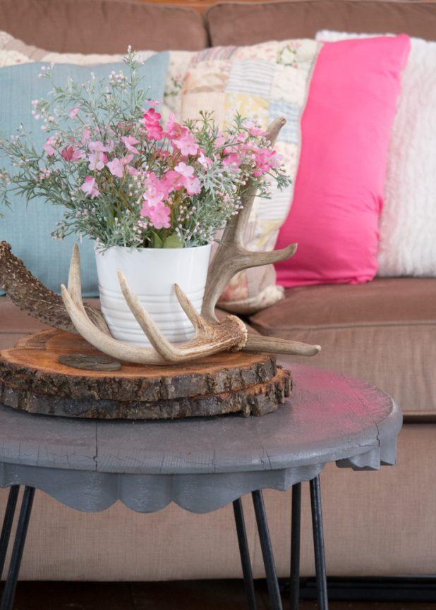 Faux Spring Flowers In Pink and Dusty Green, Deer Antlers, Wood Slices, Rustic Flower Arrangement