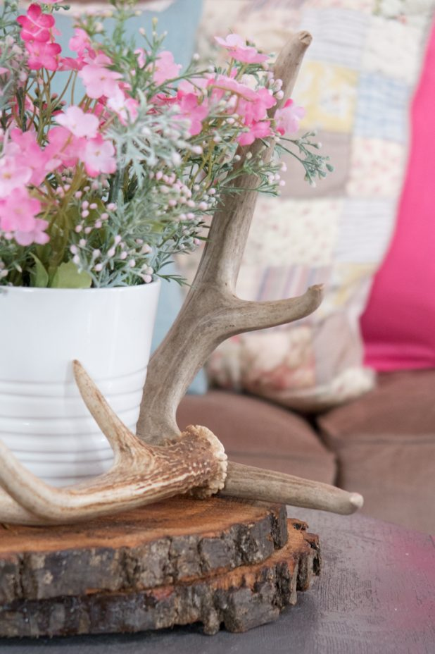 Faux Spring Flowers In Pink and Dusty Green, Deer Antlers, Wood Slices, Rustic Flower Arrangement