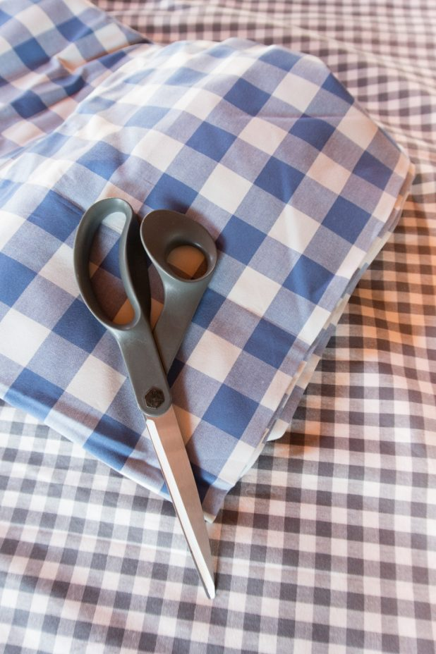 French Blue Buffalo Check Fabric, Gray Gingham Fabric