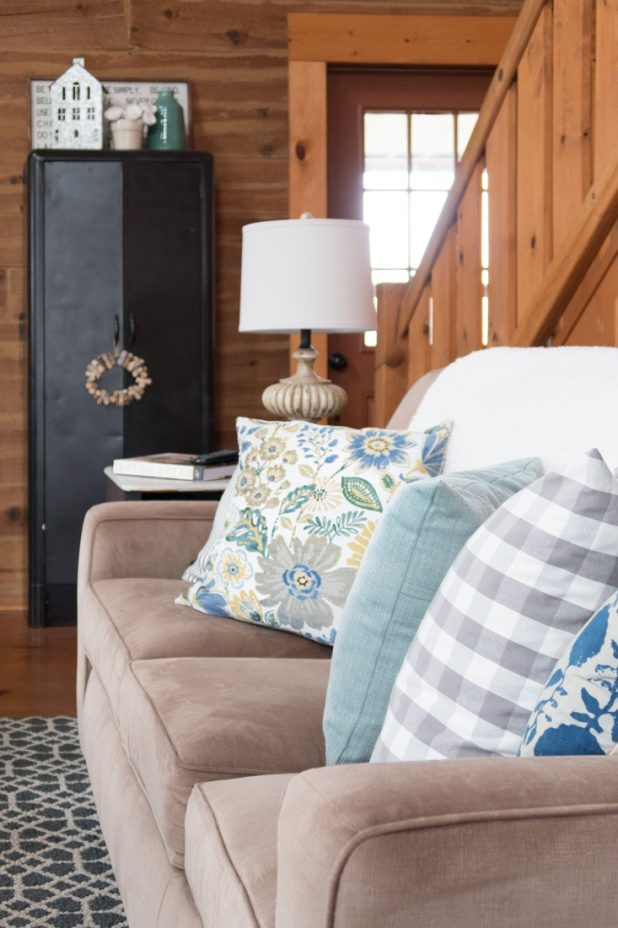 Decorating with French Blue, Sage Green , Gray, Black , White, and Tan. Living room decor. Farmhouse style