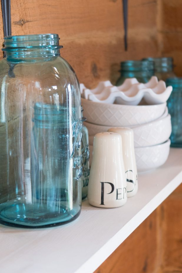 Blue Mason Jars, Open Farmhouse Shelves, Farmhouse Style